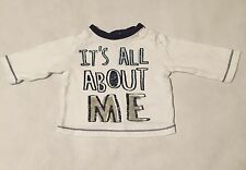 Baby Boys 0-3 Months F&F White Long Sleeve  T-shirt Blue Trim Buttons