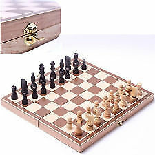 Foldable Big Wooden Chess Board Set With Peaces