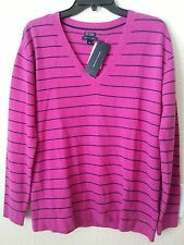NEW $199 TOMMY HILFIGER Women 100% Cashmere Stripe V-Neck Pullover Sweater Top M