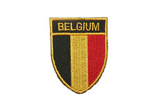 BELGIUM COUNTRY FLAG OVAL SHIELD FLAG EMBROIDERED IRON-ON PATCH CREST BADGE