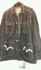 EVISU  size large LONGER LENGTH BLUE DENIM JEAN  JACKET LINED EX COND
