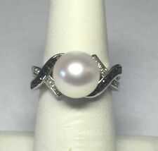 Sterling Silver Honora 10mm Freshwater Pearl & Genuine White/Black Diamond Ring
