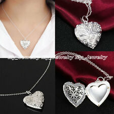 Lover Gift New Silver Love Heart Flower Valentine Locket Pendant Necklace Chain