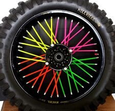 "**MADE IN USA**NEW NEON* 10""-19"" BYKAS SPOKE WRAPS DIRTBIKE SKINS COATS COVERS"