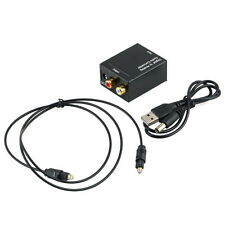 Digital Optical Toslink Coax to Analog L/R RCA Audio Converter Adapter +Cable #A