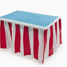Fun Express Striped Table Skirt, Red/White, 14 Feet x 29 Inches (FNEIN-3/3530)