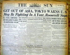 BEST 1941 Pre PEARL HARBOR ATTACK hdlne newspaper JAPAN WARNS US Get Out of Asia