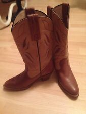 Frye #2H08R33 Cowboy Western Inlay Leather Biker Women's Boots Size 7 Brown Tan