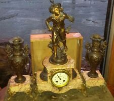 Antique French Moreau 3 Piece Bronze Finish & Marble Clock