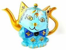 Cat Teapot - Ceramic, Hand Painted - Blue & Gold - Boxed
