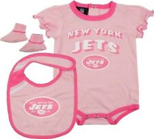 New York Jets Creeper Booties, Bib Pink Girls Baby Infant 18 Month