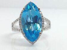 STUNNING 14K WHITE GOLD  MARQUISE CUT SWISS BLUE TOPAZ RING W/ .31 DIAMOND HALO