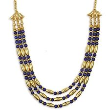 "Gold Plated Lapis Egyptian Cleopatra Triple Strand Necklace 18"" & Earring Set"