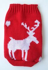 Chihuahua (XS) Dog Clothes Red & White Reindeer Knitted Christmas Jumper Sweater