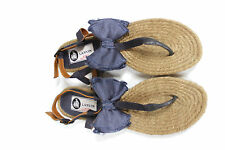 Lanvin Blue  Satin bow flat espadrille sandals 39 uk 6