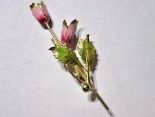 PINK AND GREEN ENAMEL FLOWER PIN DOUBLE TULIP PRETTY DAINTY FEMININE BROOCH
