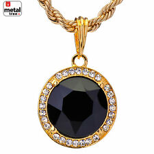 "HipHop 14k Gold Plated Iced Out Round BLACK Ruby Pendant 24"" Rope Chain KC7963G"
