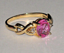 14K YELLOW GOLD SOLITAIRE OVAL PINK SAPPHIRE & DIAMOND RING 3.2 GRAMS SIZE 8