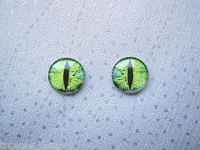 *DOMED GLASS GREEN EVIL CATS EYE* Stud 14mm SP Earrings CAT DRAGON HALLOWEEN