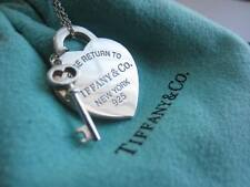 "Please Return to Tiffany & Co. Heart Charm & Mini Key 18"" Necklace w/ Packaging"