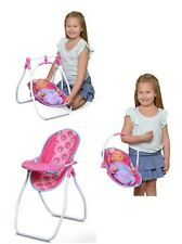 "New Baby Doll High Chair Swing & Carrier Car Seat For Baby Up To 18"" Long"