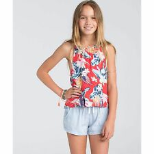 2016 NWT GIRLS BILLABONG COASTAL VIBES TANK TOP $30 M hibiscus allover print