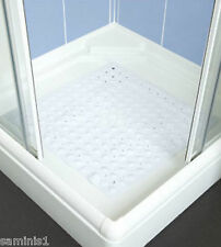 "NEW-ANTI-SLIP 21"" SQUARE WHITE SHOWER MAT - EASY CLEAN & DRAIN-CREATES SAFE BASE"