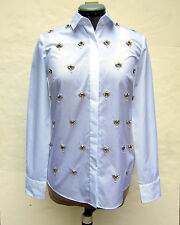 NWT J Crew Collection Encrusted Boy Blouse 0 White $298 Holiday 13 08548