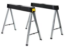Saw Horse Metal Folding Stanley Fold Up Leg Trestles Twin Pack Pair 1-97-475