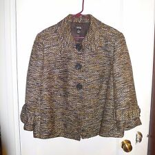 Pre-owned * Style & Co. Woman * Brown Mustard & Black Lined Coat, 18W