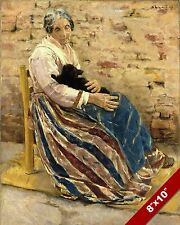 OLD ITALIAN NONA WOMAN IN CHAIR WITH CAT PORTRAIT PAINTING ART REAL CANVAS PRINT