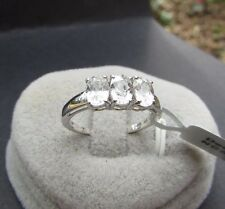 2.30 cts Genuine Ratanakiri Zircon Trilogy Size 7 Ring 10k White Gold