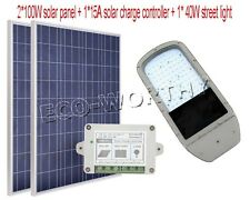 40W LED Street Light System:2*100W Poly Solar Panel W/ 15A Solar Controller