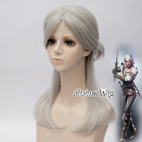Silver Grey 50cm Wavy Synthetic Medium Witcher Ciri Anime Cosplay Wig With Cap