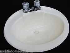 Mobile Home RV Parts. Bathroom Lav Sink w/ Faucet, Drain & Hardware Bone 20x17