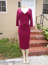 NICOLE MILLER COLLECTION FUCHSIA GATHER DETAIL 3/4 SLEEVE CASUAL DRESS Sz 12