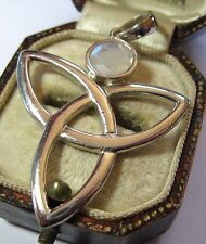 SOLID SILVER 925 CELTIC KNOT INFINITY REAL NATURAL MOONSTONE LARGE PENDANT