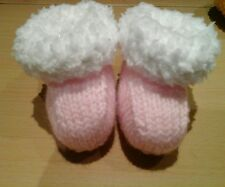Baby girl pink hand knit snuggle bootees 0 to 3 months