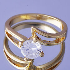 Gorgeous Womens Clear crystal Ball 18K Gold Plated Wedding Ring Size 7.5