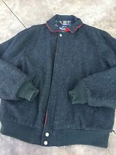 Vintage Men's Woolrich Wool Bomber Jacket Coat M Charcoal Black USA Plaid Liner
