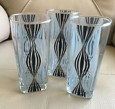 Vintage Art Deco Mid Century Set 3 Square Based Blue Green Tumblers Glasses