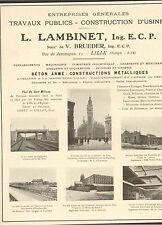 PARIS ETS FORESTIER TRAVAUX PUBLICS LILLE ETS LAMBINET CONSTRUCTIONS USINES 1921