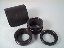 Vintage Asahi Pentax Takumar M42 Roman No I II III Extension Tube Set & Case