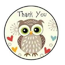 """48 Thank You Owl #2!!  ENVELOPE SEALS LABELS STICKERS 1.2"""" ROUND"""