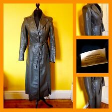Vintage 70's Echtes Leder Grey Real Leather Long Trench Coat UK 8/10 Mod Carnaby