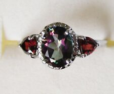 Northern Lights Mystic Topaz & Garnet Ring in Sterling Silver sz 7