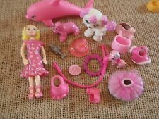 "Polly Pocket Lot ""Colors of the Rainbow"" Doll Pink Pets Cat Dog Accessory L44"