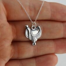 Horse Saddle Necklace - 925 Sterling Silver - Pendant Horses Equestrian Gift NEW
