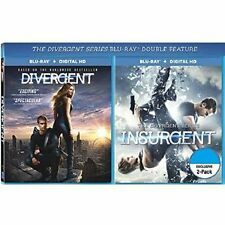 THE DIVERGENT SERIES DOUBLE FEATURE DIVERGENT & INSURGENT BLU-RAY + DIGITAL HD