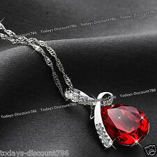En forma de lágrima Collar Cristal Rojo Amor Novia Esposa Madre Mujer Regalo de Navidad para su